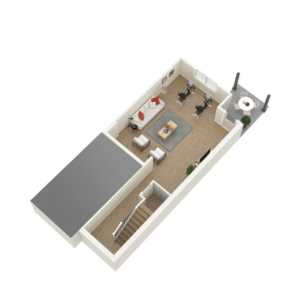 Unit 1 3D Floorplan Lower Floor