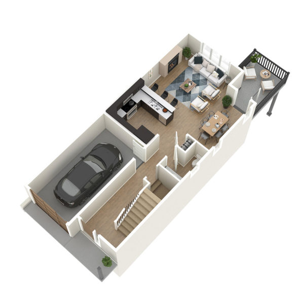 Unit 1 3D Floorplan Main Floor
