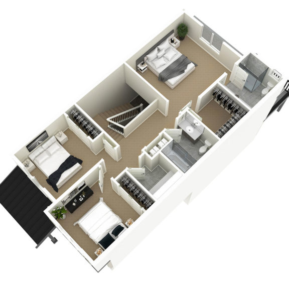 Unit 1 3D Floorplan Upper Floor